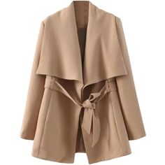 Blackfive Md-long Oversized Collar Belted Coat ($40) ❤ liked on Polyvore featuring outerwear, coats, jackets, coats & jackets, long coat with belt, beige coat, belted coat, long beige coat and coat with belt