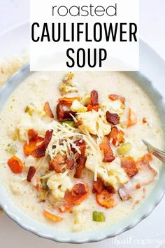 This roasted cauliflower soup is creamy, thick and has better-for-you ingredients without skimping on flavor! #cauliflower #cauliflowersoup #soups #soup #souprecipes #vegetables #veggies #recipes #iheartnaptime Healthy Soup Recipes, Pork Recipes, Paleo Soup, Vegan Soups, Savoury Recipes, Wrap Recipes, Delicious Recipes, Healthy Foods, Yummy Food