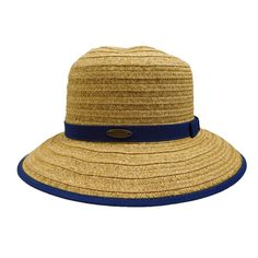 Down sloping, wide brim bound with ribbon. Matching ribbon band with small bow. One size. (runs larger, fits up to paper straw, polyester. Cloche Hat, Brim Hat, Summer Hats For Women, Paper Straws, Ribbon, Bows, Braid, Larger, Detail