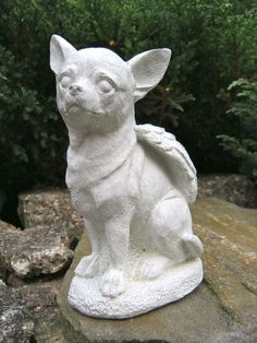 Chihuahua Dog Angel White or Grey Concrete Garden Statue