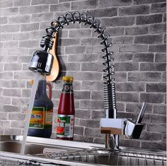 fashion chrome Kitchen faucet brass kitchen sink faucet hot and cold sink spring tap Water Tap with pull down shower head #Affiliate