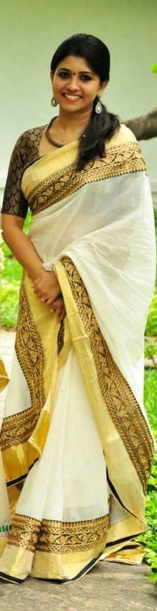 Kavani boutique designs on Karalkada handloom Kerela Kasavu sarees