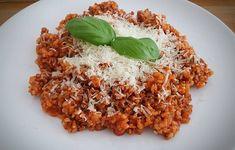 Bolognai bulgur - Eddi konyhája Bologna, Risotto, Health Fitness, Chicken, Meat, Cooking, Ethnic Recipes, Pizza, Food