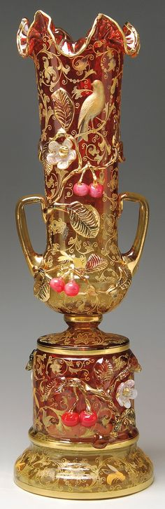 Late century extraordinarily ornate Moser Bohemian cranberry glass vase with lots of gold gilt paint and painted molded highlights (look at those cherries, they look good enough to eat! Art Of Glass, Glass Vase, Art Nouveau, Vase Cristal, Glas Art, Cranberry Glass, Glass Ceramic, Antique Glass, Colored Glass