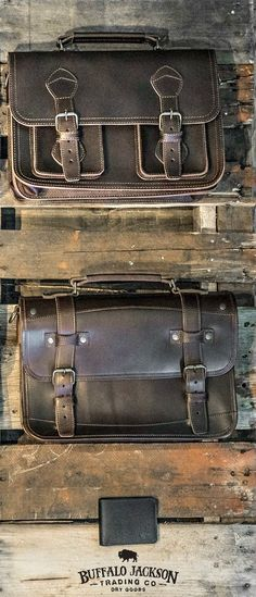 Amazing collection of leather products for men. Impressive quality and attention to detail. Bison leather, vintage inspired, and more. Great rugged vibe. messenger bags | briefcase bags | camera bags | luggage | wallets #leather #menstyle #mensstyle