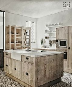 Kitchen interior design by Katty Schiebeck Kitchen Interior, Kitchen Decor, Casa Cook, Timeless Kitchen, Wooden Kitchen, Rustic Kitchen, Cuisines Design, Home Kitchens, Sweet Home