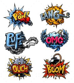 Vector set of comics icons. Comic book explosion set Vector set of comics icons. Graffiti Doodles, Graffiti Drawing, Arte Pop, Los Muertos Tattoo, Desenho Pop Art, Graffiti Lettering Fonts, Lettering Styles, Pop Art Tattoos, Comic Art