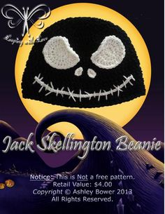 "Looping with Love's ""Glaring Jack Skellington Beanie"" pattern was just released!!"