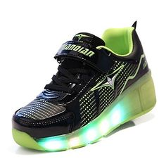 Youth New Led Heelys Wheels Boys Girls Shoes Skates Kids Light Up Roller Run Trainers Convenient To Cook