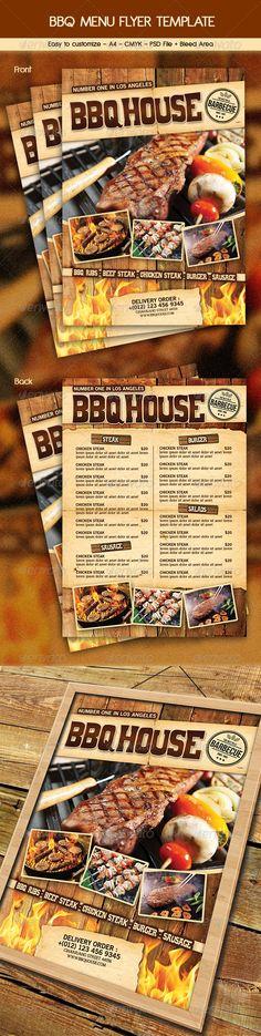 BBQ / Steak Menu Flyer Template #design Download: http://graphicriver.net/item/bbq-steak-menu-flyer/6460832?ref=ksioks