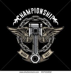 Vintage bikes emblem, piston with wings, texture is easy to remove