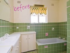How to paint bathroom tile. A sense of design: Before and after - bathroom.good to know if a whole bathroom remodel is not in the budget at the moment Painting Bathroom Tiles, Bath Tiles, Paint Tiles, Tile Bedroom, Paint Backsplash, Do It Yourself Home, Room Paint, Home Remodeling, Bathroom Remodeling
