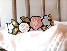 FALL SALE Flower Crown Headband - Floral Crown Headband - Hand Embroidered Felt Headband - Flowered Headband