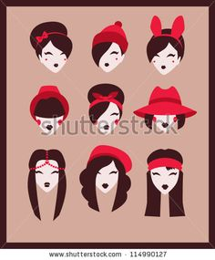 fashion girls icon set vector illustration eps 10 - stock vector