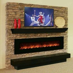 Linear Electric Fireplace by Modern Flames with our Modern Mantel Shelf. Note: nearly clearance required below Stone Fireplace Wall, Linear Fireplace, Wall Mount Electric Fireplace, Fireplace Design, Fireplace Mantels, Fireplace Ideas, Hanging Fireplace, Electric Fireplaces, Modern Fireplaces