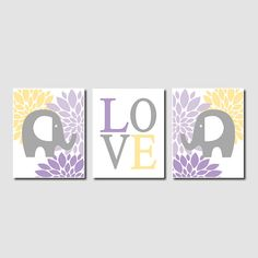 Floral Elephant Nursery Artwork Lavender Purple Gray Grey Yellow Love Set of 3 Prints Baby Girl Nursery Art Decor Wall Art Picture Safari