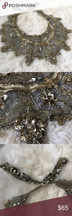 HP 1/20/17  Vintage Gold Beaded Scarf STUNNING black mesh scarf with sequins and intricate gold beadwork. Perfect with that little black dress!!  Host pick, Pretty, Flirty, and Girly 1/20/17 Vintage Accessories Scarves & Wraps