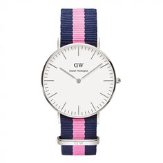 Daniel Wellington Classic Nato Winchester Watch - with blue and pink nylon strap (code 0604DW)