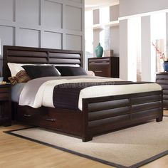 Tangerine King Bed dark brown bed frame from rc willey Wood Bed Design, Bedroom Bed Design, Bedroom Sets, Modern Bedroom, Tangerine Bedroom, Bedroom Furniture, Furniture Design, Pulaski Furniture, Bed Designs With Storage