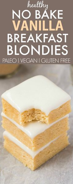 Healthy No Bake Vanilla Breakfast Blondies