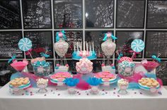 A Candy Table! Just think a Hot pink and zebra  candy table oh yes!!! @Marlana Kulick McSkimming and @Annie Bordeaux- Miramontes