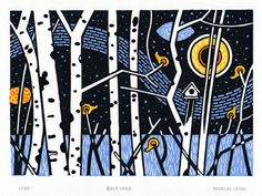 Backyard Limited Edition 4 Colour Hand-Pulled Linocut by bluefuze