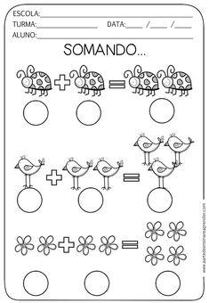 Atividade pronta - Adição Preschool Curriculum, Preschool Math, Craft Activities For Kids, Kindergarten Worksheets, Math Activities, Kannada Language, Arabic Alphabet Letters, Pet 5, Kids And Parenting