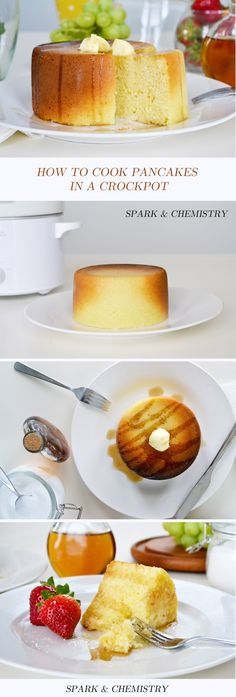 How to make pancakes in a slow cooker/Crock-Pot! Share a giant pancake with the whole table. via Spark & Chemistry blog