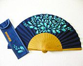 """Spanish hand fan painted with matching sheath """"Party"""" Antique Fans, Vintage Fans, Hand Held Fan, Hand Fans, Chinese Fans, Paper Fans, Classic Paintings, My Favorite Color, Body Painting"""