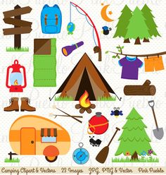 Our Camping Clipart set includes 23 PNG files with transparent backgrounds, 23 JPG files with white backgrounds and 1 Adobe Illustrator vector file.