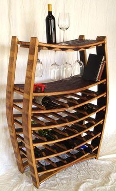 Handmade wine rack upcycled from Napa barrels - from Etsy