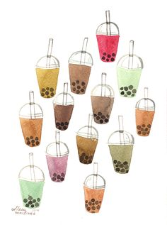 bubble tea!! so cute!! the most popular drink invented by my country TAIWAN !!
