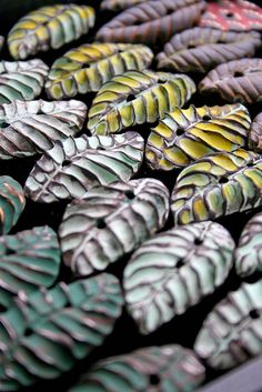 Leaves - Buttons by Lisa Peters - ceramic  I love these subtle colors. Want want want!!,