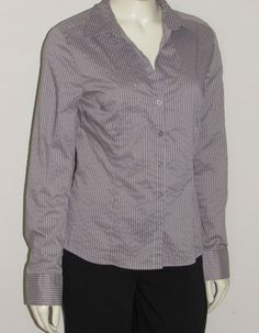H&M Gray Stripe Shirt size 8 Small NEW nwot Stretch Woven Blouse Button Up H & M #HM #ButtonDownShirt #Career