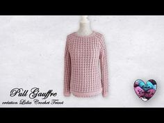 YouTube Pull Crochet, Knit Crochet, Crochet Tops, Lidia Crochet Tricot, Crochet Blouse, Creations, Men Sweater, Pullover, Unisex