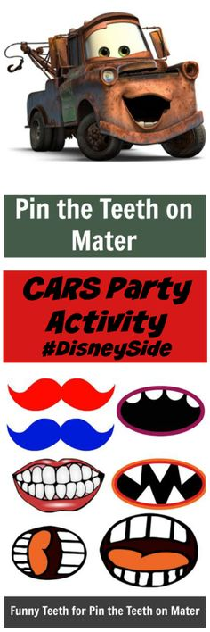 Disney CARS Party Ideas: Pin The Mouth On Mater We had a blast at our Disney Cars party a few weeks ago. One of our Cars themed party activities was Pin The Teeth On Mater. Great for CARS party planning. Disney Cars Party, Disney Cars Birthday, Car Themed Parties, Cars Birthday Parties, Birthday Games, 3rd Birthday, Birthday Ideas, Birthday Stuff, Auto Party
