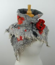 Felted scarf with flower brooch, Felted cape,  Red Poppy,, Felted art,, gray,  red  grey