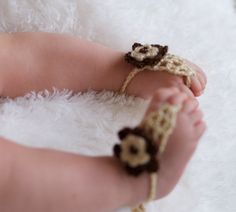 Crocheted baby sandals $14.00