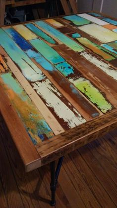 dining table, custom, hand made, reclaimed wood,, patina finish, from vintage panel doors with pipe legs. industrial. re purposed.