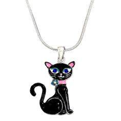 "Amazon.com: DianaL Boutique Black Kitty Cat Pendant Necklace 18"" Chain Enameled…"
