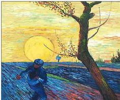 Farming oil painting  Oil painting,Sower with Setting Sun (After Millet) by Van Gogh, Vincent