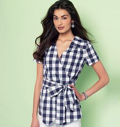 Pretty wrap top sewing pattern from McCall's. M7358 has sleeve and neckline variations. Try Cotton Blends, Gingham, Challis, Crepe de Chine fabrics.