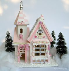 Christmas decoration house miniature, Christmas wooden house, hand made pink lamp, dollhouse miniature.