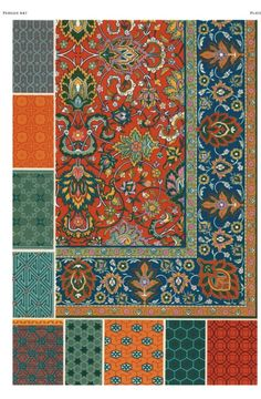 """Persian ornamental motifs, from """"The World Ornament Sourcebook"""" by Auguste Racinet"""