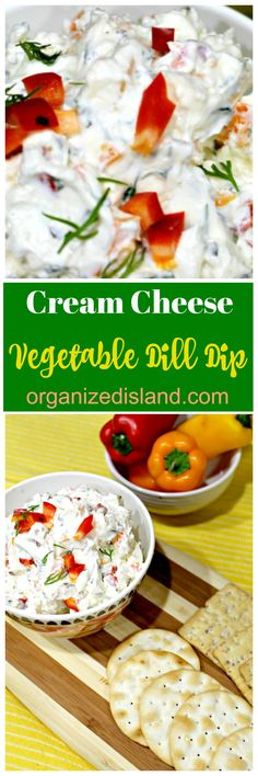 Vegetable Cream Cheese Dip Recipe - crunchy and refreshing. Perfect with vegetables or chips! Cheese Dip Recipes, Appetizer Recipes, Snack Recipes, Healthy Recipes, Simple Recipes, Party Appetizers, Yummy Snacks, Vegetable Dips, Vegetable Recipes