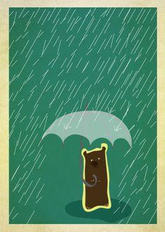 Bear, rain and umbrella - digital illustration by Miriane Camargo