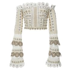 Jonathan Simkhai Gladiator Embellished Bustier Top ($995) ❤ liked on Polyvore featuring tops, neutral, embellished top, white bustier, white bustier top, white off the shoulder top and white crop top