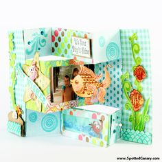 Beach Memories Tri Fold Shutter Card Tutorial on Spotted Canary
