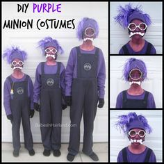 DIY Purple Minion Costumes from BabesInHairland.com #halloween #costumes #minion #despicableme