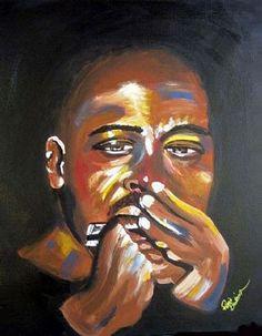 Blues Harmonica Player Jazz Giclee Art Print.